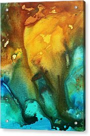 Abstract Art Colorful Turquoise Rust River Of Rust IIi By Madart Acrylic Print by Megan Duncanson
