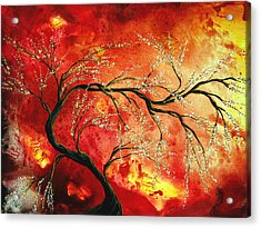 Abstract Art Floral Tree Landscape Painting Fresh Blossoms By Madart Acrylic Print by Megan Duncanson