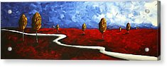 Abstract Art Original Landscape Painting Winding Road By Madart Acrylic Print by Megan Duncanson