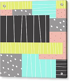 Abstract Art Stripes And Dots Acrylic Print