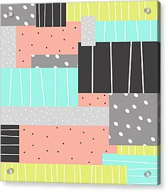 Abstract Art Stripes And Dots Two Acrylic Print