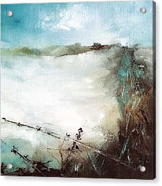 Abstract Barbwire Pasture Landscape Acrylic Print by Michele Carter