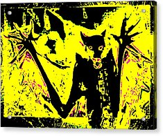 Black On Yellow Dog-man Acrylic Print
