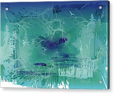Acrylic Print featuring the digital art Abstract Blue Green by Robert G Kernodle