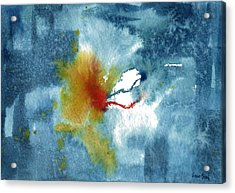 Abstract Blue Red Connect Acrylic Print by Sean Seal