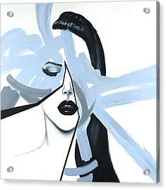 Abstract Blue Woman Portrait Acrylic Print