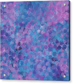 Acrylic Print featuring the mixed media Abstract Blues Pinks Purples 3 by Clare Bambers