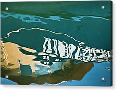 Abstract Boat Reflection Acrylic Print by Dave Gordon