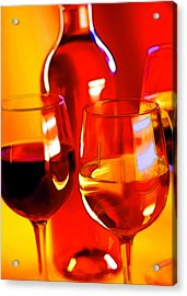 Abstract Bottle Of Wine And Glasses Of Red And White Acrylic Print by Elaine Plesser