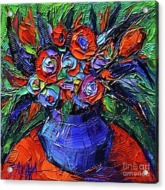 Abstract Bouquet On Vermilion Table - Impasto Palette Knife Oil Painting - Mona Edulesco Acrylic Print
