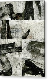 Abstract Calligraphy Collage 1 Acrylic Print by Carol Leigh