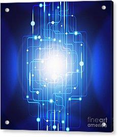 Abstract Circuit Board Lighting Effect  Acrylic Print