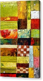 Abstract Color Study With Checkerboard And Stripes Acrylic Print by Michelle Calkins