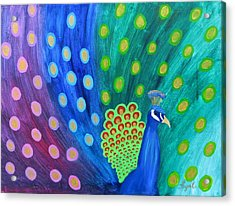 Abstract Colorful Peacock Acrylic Print