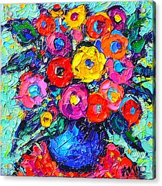 Abstract Colorful Wild Roses Modern Impressionist Palette Knife Oil Painting By Ana Maria Edulescu  Acrylic Print