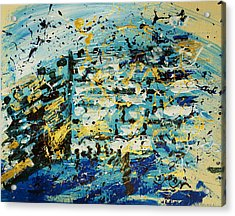 Abstract Contemporary Western Wall Kotel Prayer Painting With Splatters In Blue Gold Black Yellow Acrylic Print