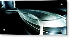 Abstract Curved Lines, Leaf Shape Acrylic Print by Ralf Hiemisch
