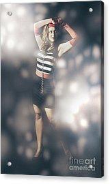 Abstract Fashion Girl Amongst Glittering Lights Acrylic Print