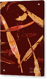 Abstract Feathers Falling On Brown Background Acrylic Print by Jorgo Photography - Wall Art Gallery