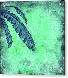 Abstract Floral Fauna Banana Leaf Tropical Aqua Splash Abstract Art By Megan Duncanson  Acrylic Print
