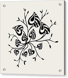 Abstract Floral With Pointy Leaves In Black And White Acrylic Print