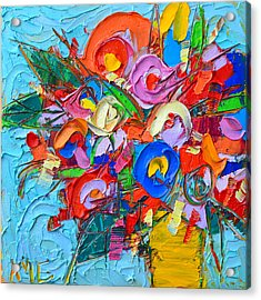 Abstract Flowers Floral Miniature Modern Impressionist Palette Knife Oil Painting Ana Maria Edulescu Acrylic Print