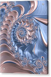Abstract Fractal Art Rose Quartz And Serenity  Acrylic Print
