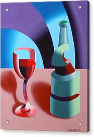 Acrylic Print featuring the painting Abstract Futurist Wine And Glass Still Life Oil Painting by Mark Webster