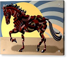 Acrylic Print featuring the painting Abstract Geometric Futurist Horse by Mark Webster