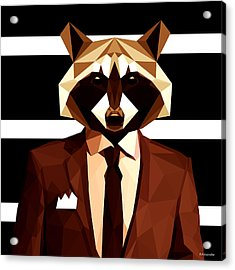 Abstract Geometric Raccoon Acrylic Print by Gallini Design