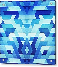Abstract Geometric Triangle Pattern Futuristic Future Symmetry In Ice Blue Acrylic Print by Philipp Rietz