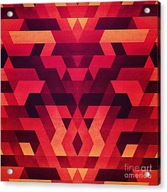 Abstract  Geometric Triangle Texture Pattern Design In Diabolic Future Red Acrylic Print by Philipp Rietz