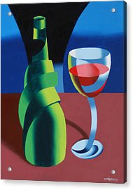 Abstract Geometric Wine Glass And Bottle Acrylic Print by Mark Webster