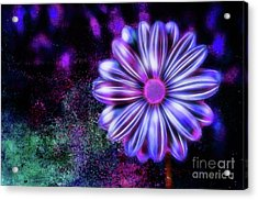 Abstract Glowing Purple And Blue Flower Acrylic Print