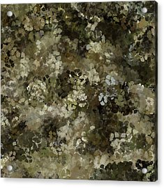 Acrylic Print featuring the mixed media Abstract Gold Black White 5 by Clare Bambers