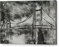 Abstract Golden Gate Bridge Black And White Dry Point Print Cropped Acrylic Print