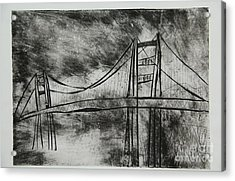Abstract Golden Gate Bridge Black And White Dry Point Print Acrylic Print