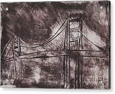 Abstract Golden Gate Bridge Dry Point Print Cropped Acrylic Print