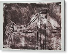 Abstract Golden Gate Bridge Dry Point Print Acrylic Print