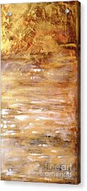 Abstract Golden Sunrise Beach  Acrylic Print
