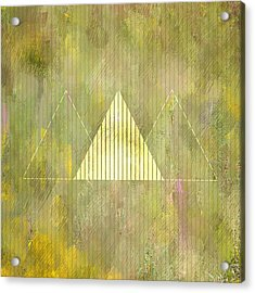Abstract Green And Gold Triangles Acrylic Print
