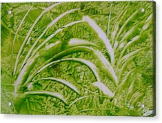 Abstract Green And White Leaves And Grass Acrylic Print