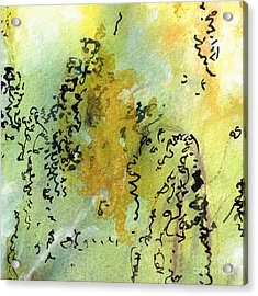 Acrylic Print featuring the painting Abstract Green And Yellow  by Ginette Callaway