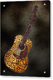 Acrylic Print featuring the mixed media Abstract Guitar by Michael Tompsett