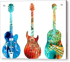 Abstract Guitars By Sharon Cummings Acrylic Print by Sharon Cummings