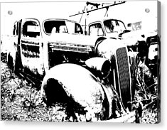 Abstract High Contrast Old Car Acrylic Print by MIke Loudemilk