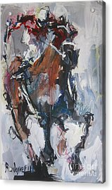 Acrylic Print featuring the painting Abstract Horse Racing Painting by Robert Joyner