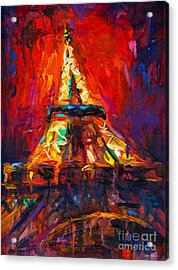 Abstract Impressionistic Eiffel Tower Painting Acrylic Print by Svetlana Novikova