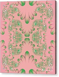 Acrylic Print featuring the digital art Abstract In Pink And Green by Linda Phelps