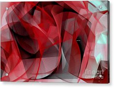 Acrylic Print featuring the digital art Abstract In Red Black And White by Rafael Salazar